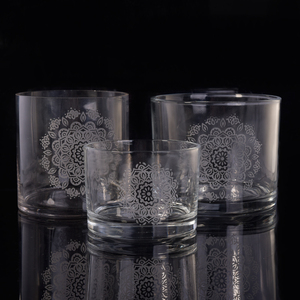 Hurricane clear cylinder with laser pattern pure glass candle holder