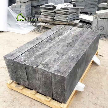 China Grey Natural Split Outdoor Stone Stair Treads Blue Limestone Steps