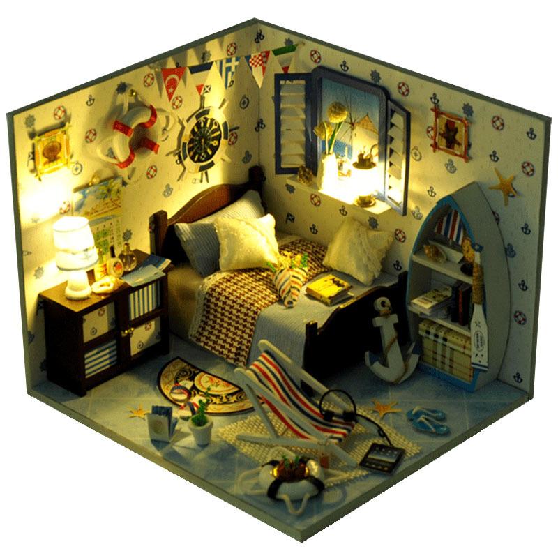 प्रकाश के साथ नवीनतम डिजाइन प्यारा मिनी लकड़ी DIY गुड़ियाघर बच्चों उपहार खिलौने जन्मदिन के लिए