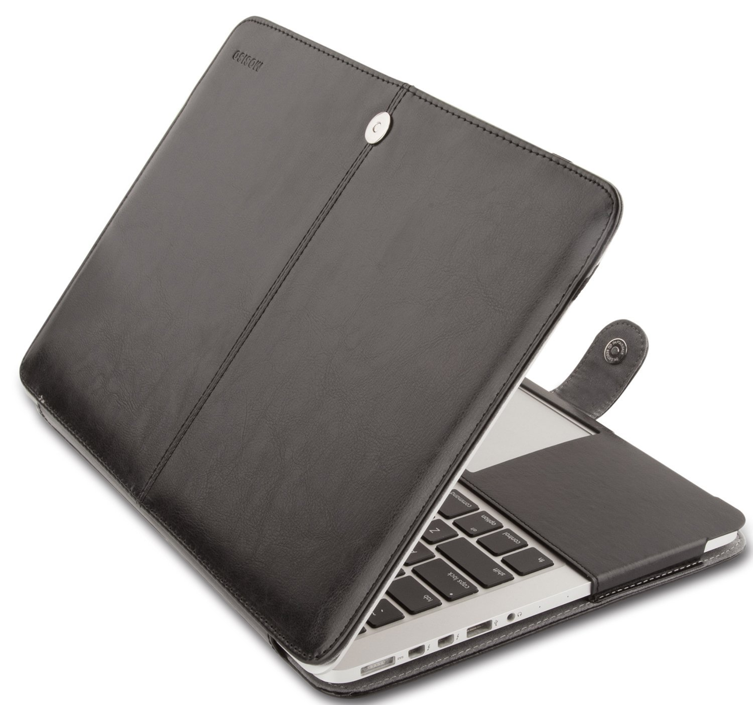 Mosiso Premium Quality PU Leather Book Cover Folio Case with Stand Function for MacBook Pro 15 Inch with Retina Display (Model: A1398), Black