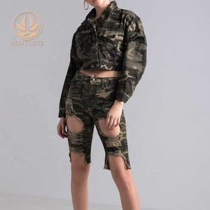 Camouflage Jacket Denim Custom Women Broderie Anglaise Printed Uniform Cotton-gabardine Casual Jacke For Woman