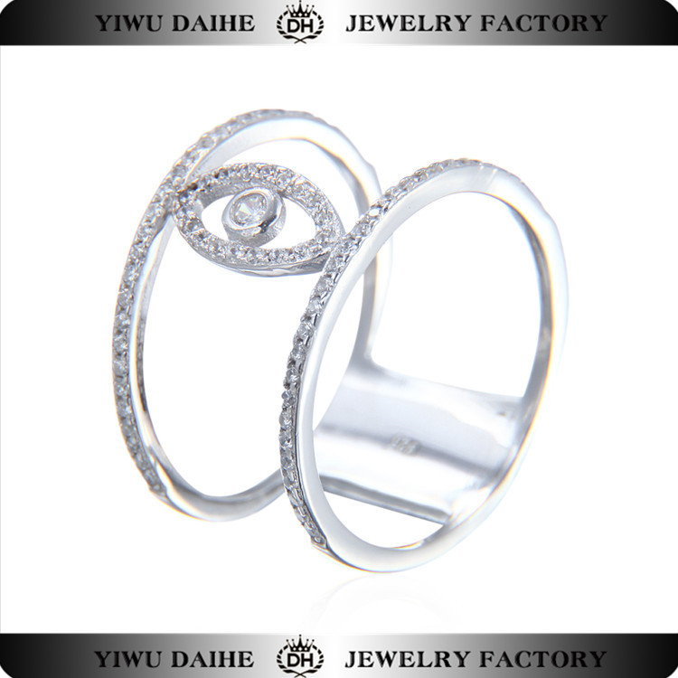 Fashion knuckle 925 sterling silver evil eye ring