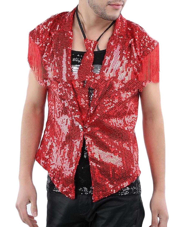 3d4c4ae1 Get Quotations · Aooword Mens Sequin Fringed Vest Tops Dance Suit Club  Leisure Vest