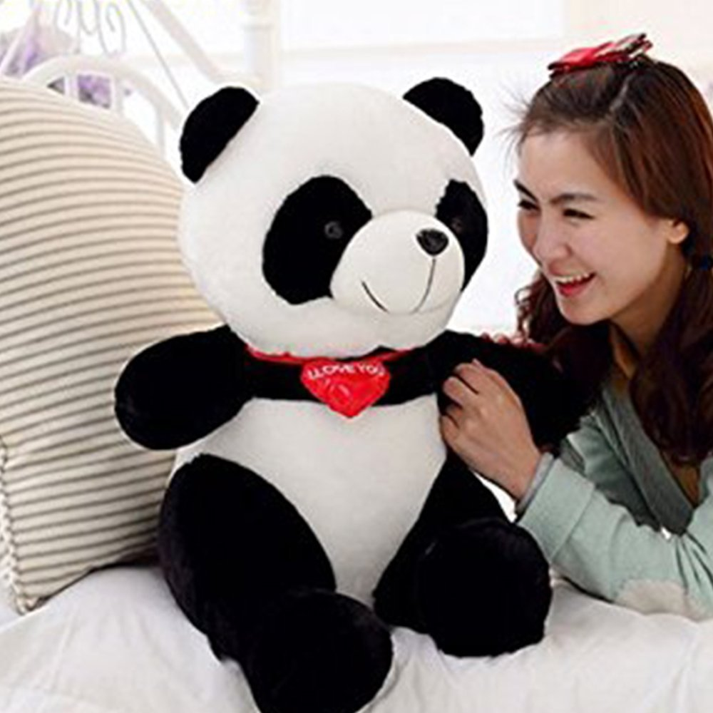 LUCKSTAR(TM) 65cm Black White With Red Fortune Panda Bear Stuffed Animal Plush Toy Black White Plush Cute Big Head Panda Large Pillow Cushion Design Kids Toy Gift affordable delight for any bear lover