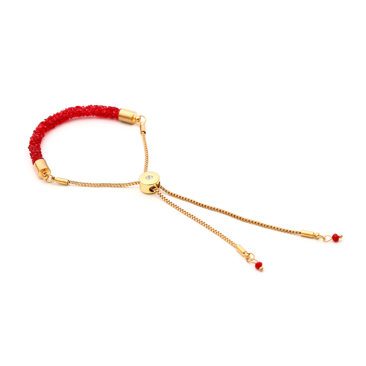 Buy 10 Get 1 Free, Adjustable Gold Tone Red Crystal Druzy Charm Bracelet Crystal Natural Stone Shiny Long Bracelet For Women