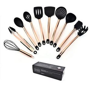 10pcs FDA silicone stainless steel with copper plating luxury kitchen utensil set with rack