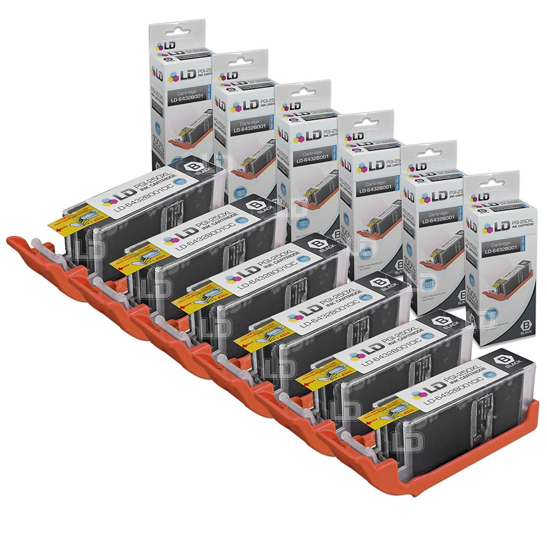 LD Compatible Canon PGI-250XL / 6432B001 Set of 6 High Yield Pigment Black Inkjet Cartridges for PIXMA MX922, MG5420, MG6320, MX722, IP7220, MG5422, MG7120, MG5520, MG6420 Printers