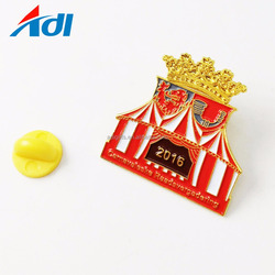 Wholesale custom cheap gold enamel lapel pins with logo and rubber stamp