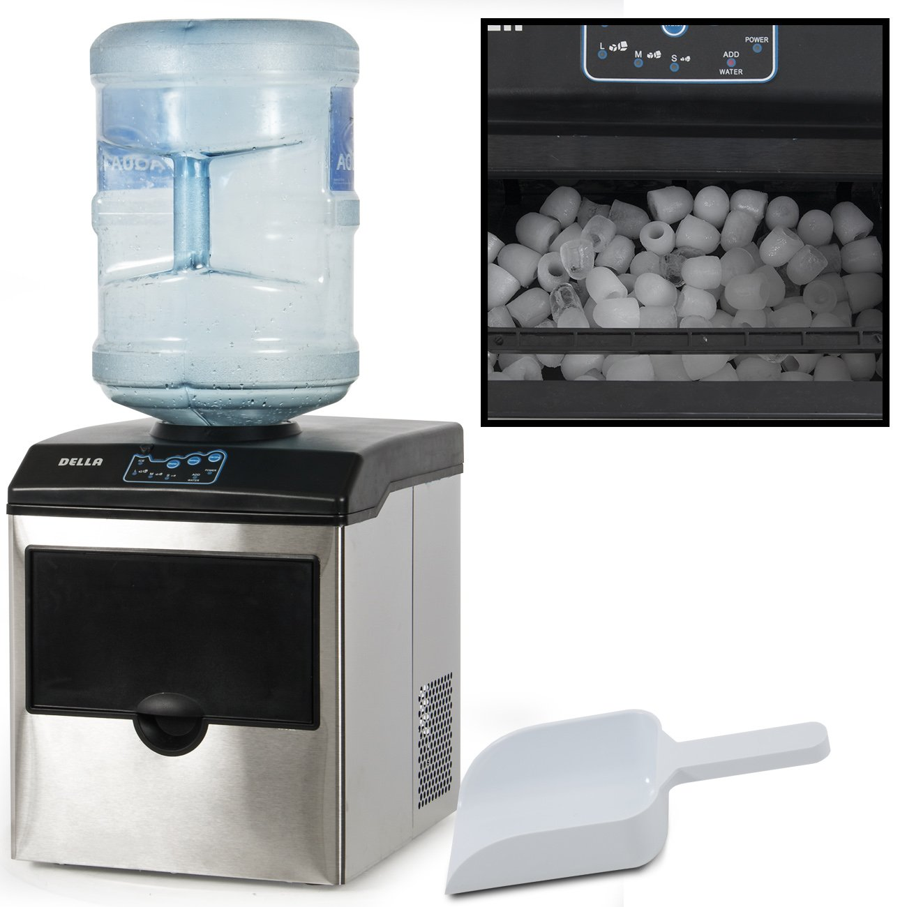Della Stainless Steel Water Dispenser w/Built-In Ice Maker Machine Counter Portable, 40-Pound