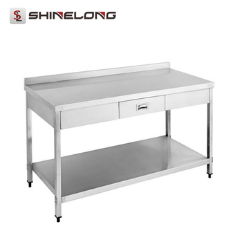 S053 Stainless Steel Table With Drawer & Splash Back-With Under Shelf(Square Tube Feet)