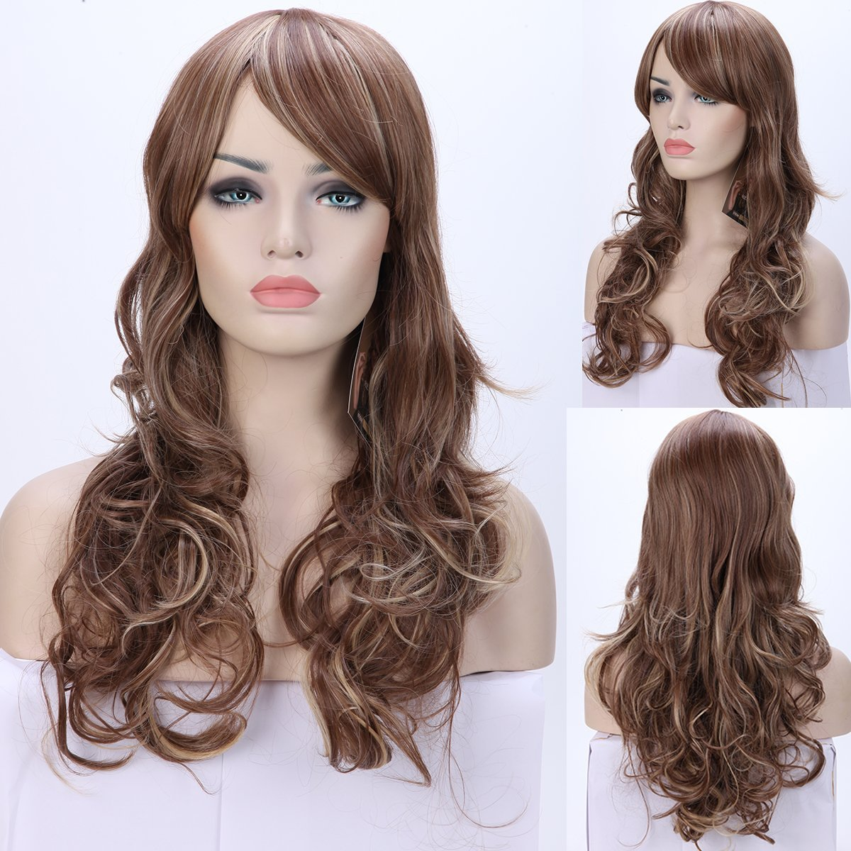 """S-noilite 20"""" Ombre Brown Blonde Mix Full Wig Curly Synthetic Wigs Lady Girls Daily Costume Wig"""