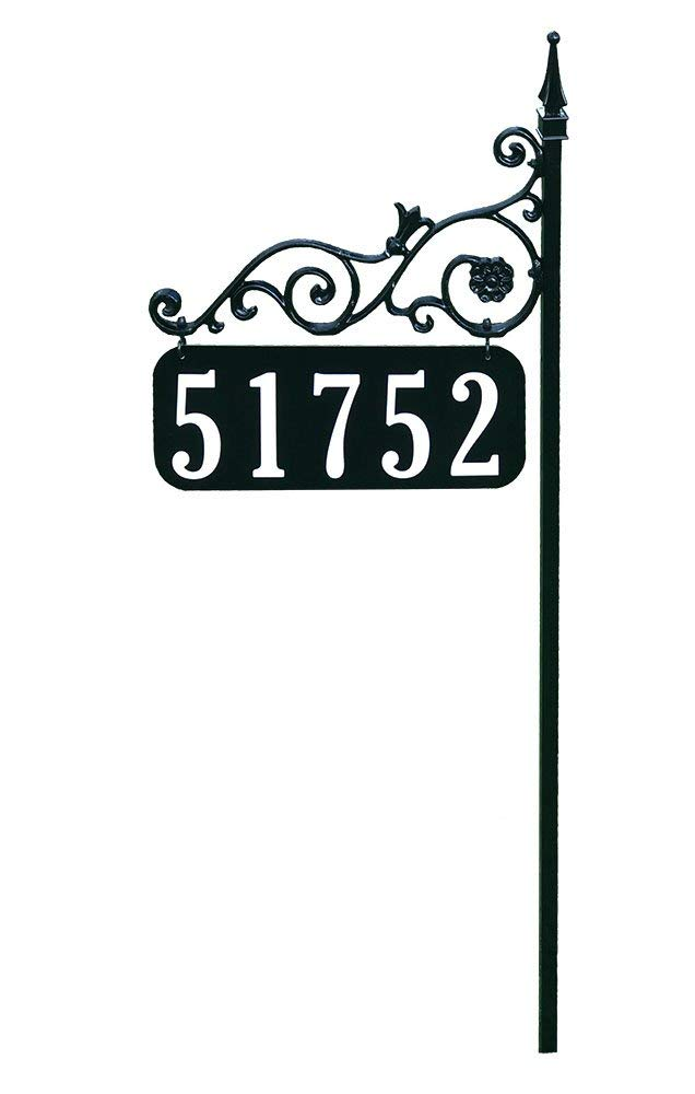 "Address America Yard Sign [Custom House Address Numbers Plaque Handcrafted 48"" Superb Home Sign All Metal, Aluminum, Steel [Highway-Grade Reflective Vinyl, Cast Metal] Black"