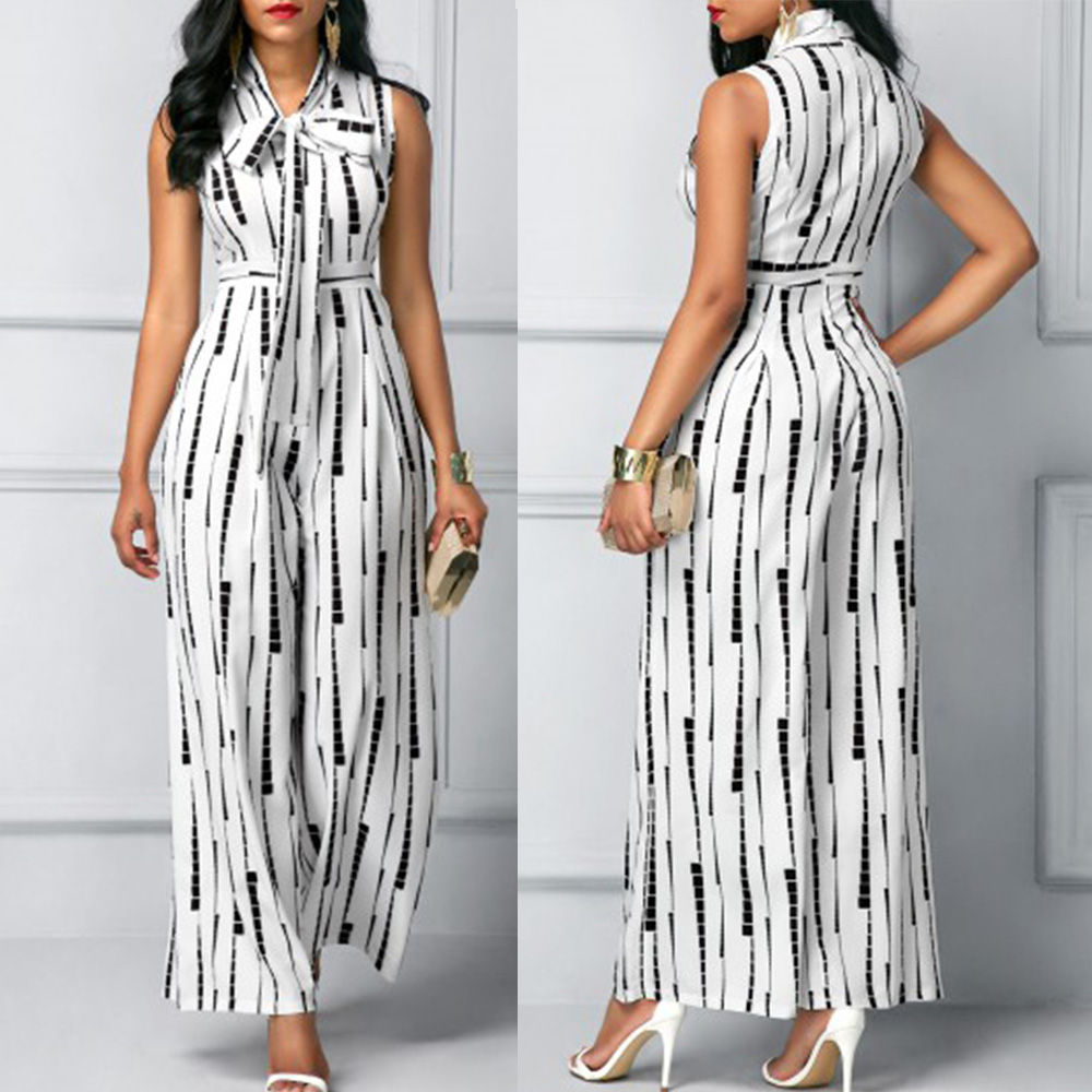 Desain Fashion Wanita Plus Ukuran Jumpsuit Tanpa Lengan Tinggi Pinggang Dicetak Putih Jumpsuit