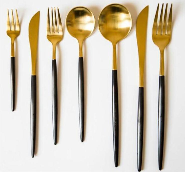 Luxury Gold Plated Cutlery Wedding Gold Flatware Matt Gold