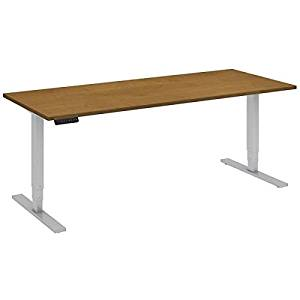 """Bush Sit Stand Desk Dimensions: 72""""W X 30""""D Height 23"""" Low - 49""""H & Operates At Speed Of 1.5"""" Per Second - Natural Cherry/Cool Grey Metallic"""