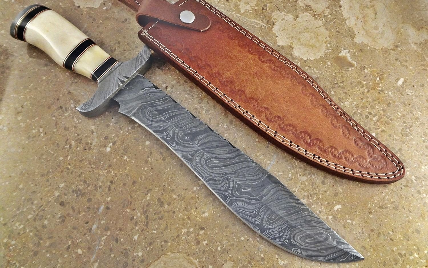 ColdLand Knives | One-of-a-Kind 15'' Custom Handmade Damascus Steel Bowie Hunting Knife HH02