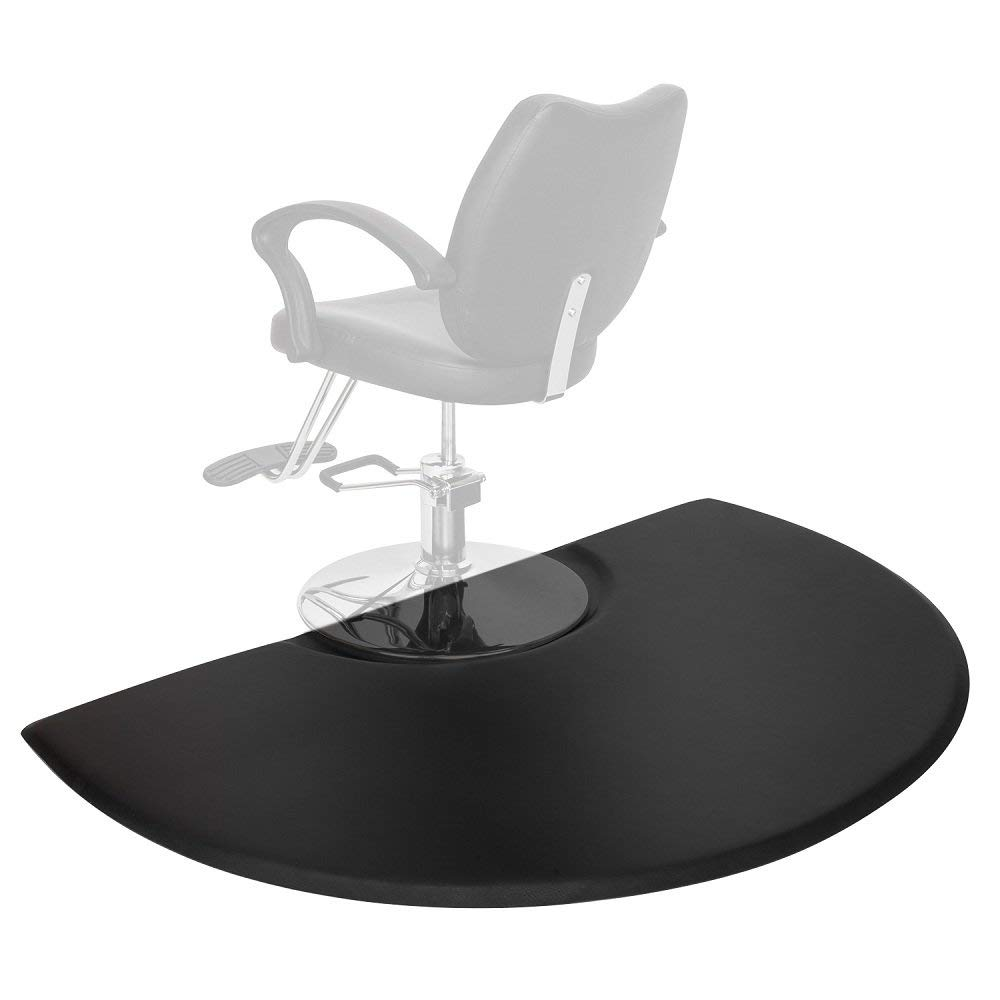 Mefeir 3 ft. x 5 ft.Semi Circle 5/8'' Thick Anti-Fatigue Comfort Standing Salon Floor Mat, Perfect for Barber Beauty Hair Styling Chair,Ergonomically Engineered,Non-Toxic, Non-Slip, Waterproof, Black