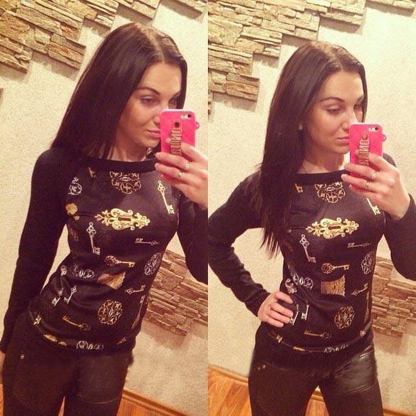 2015 новое поступление свободного покроя осень новый женский печать футболка мода с длинным рукавом шеи O футболки топы Blusas Femininas топы
