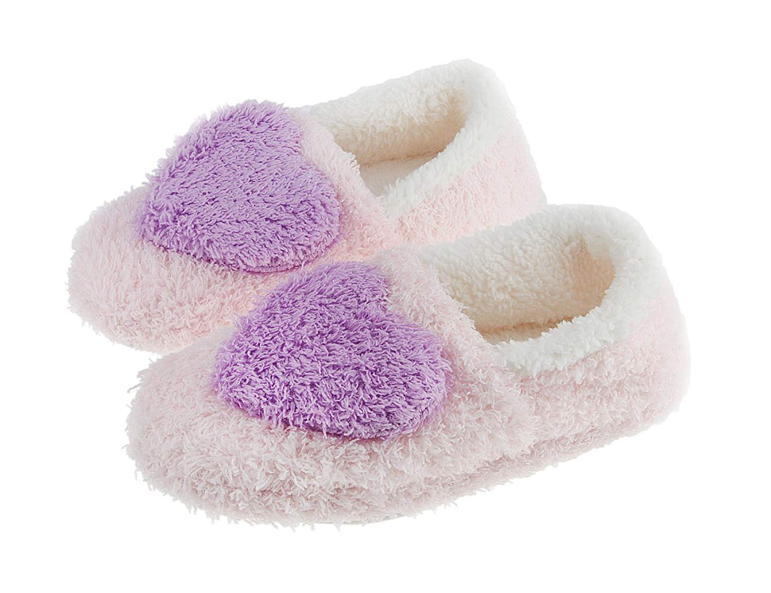 Fakeface Womens Ladies Girls Super Cosy Coral Fleece Terry Warm Mules Slipper Lovely Heart Lightweight Non-Slip Home House Indoor Slip-On Slippers Ankle Boots Shoes
