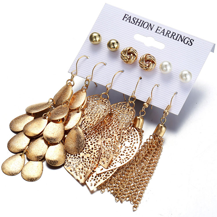2019 fashion gold <strong>earring</strong> set jewelry 6 pairs <strong>pearl</strong> <strong>stud</strong> <strong>earrings</strong> discs leaf chain tassel <strong>earrings</strong> for girls