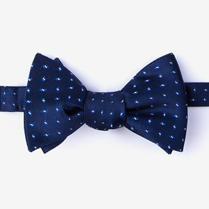 100% silk checked fashionable custom self bowtie mens accessory navy