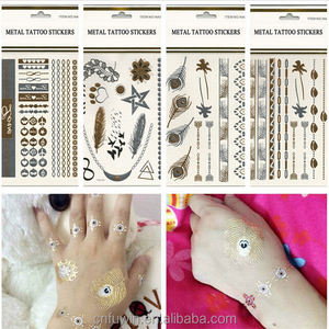 2015 Fashion colorful party reusable glitter tattoo stencil
