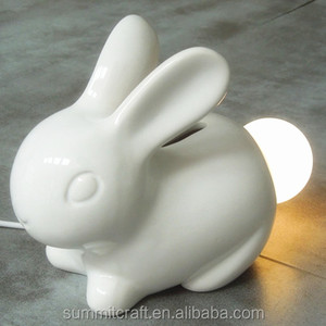 Sound control 3d ceramic Bunny rabbit baby night light