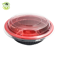 Chinese transparent black red Can Be Microwave Eco-friendly 700ml Round Plastic Disposable Biodegradable rice bowl