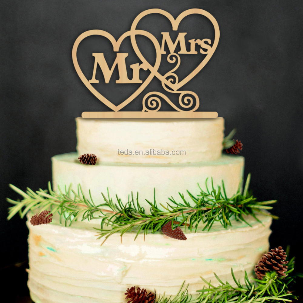 Custom wood cake topper withMR&MRS heart shape laser cut out wood, Great for a wedding or even a anniversary