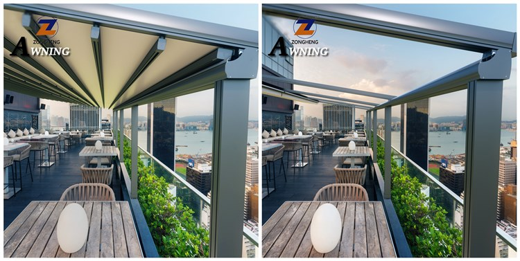 Equivalent connector aluminium pergola roof sliding awning used for house high quality custom waterproof digital printed