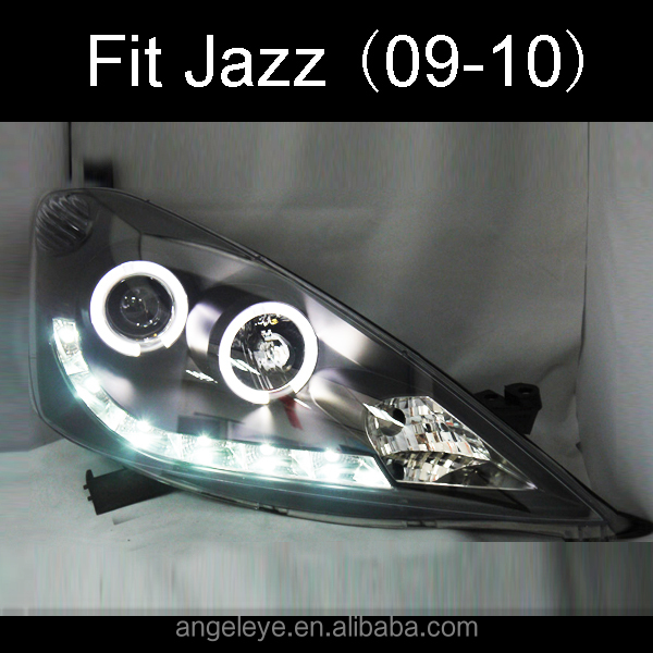 For HONDA Fit Jazz LED Head Lamp Angel Eyes 09-10 SN Type