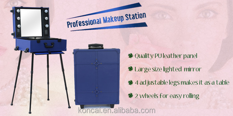MOQ:1pc Fashional trolley beauty case PU material makeup case with lighted mirror makeup train case