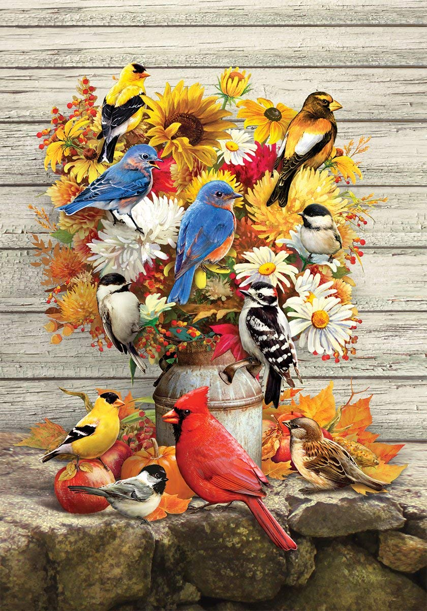 Custom Decor Fall Flowers & Birds - Garden Size, Decorative Double Sided, Trademarked, Licensed and Copyrighted Flag - Printed in the USA by Inc. - 12 Inch X 18 Inch approx. size
