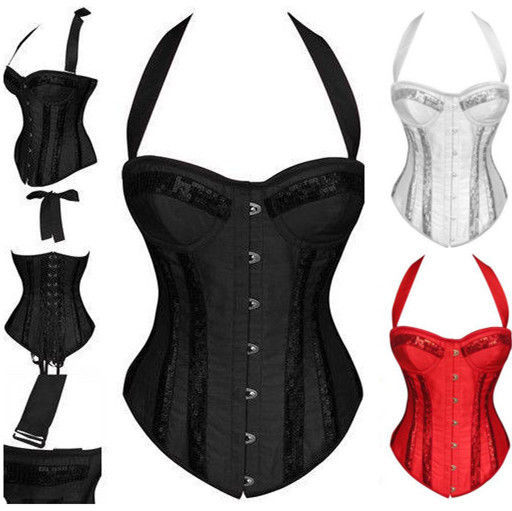 574949fb9bcf Get Quotations · New Lady Sexy Boned Halter Overbust Corset Fancy Dress  Bustier Basques S-XXL EXCELLENT QUALITY