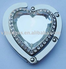 heart shape metal bag hanger with crystal