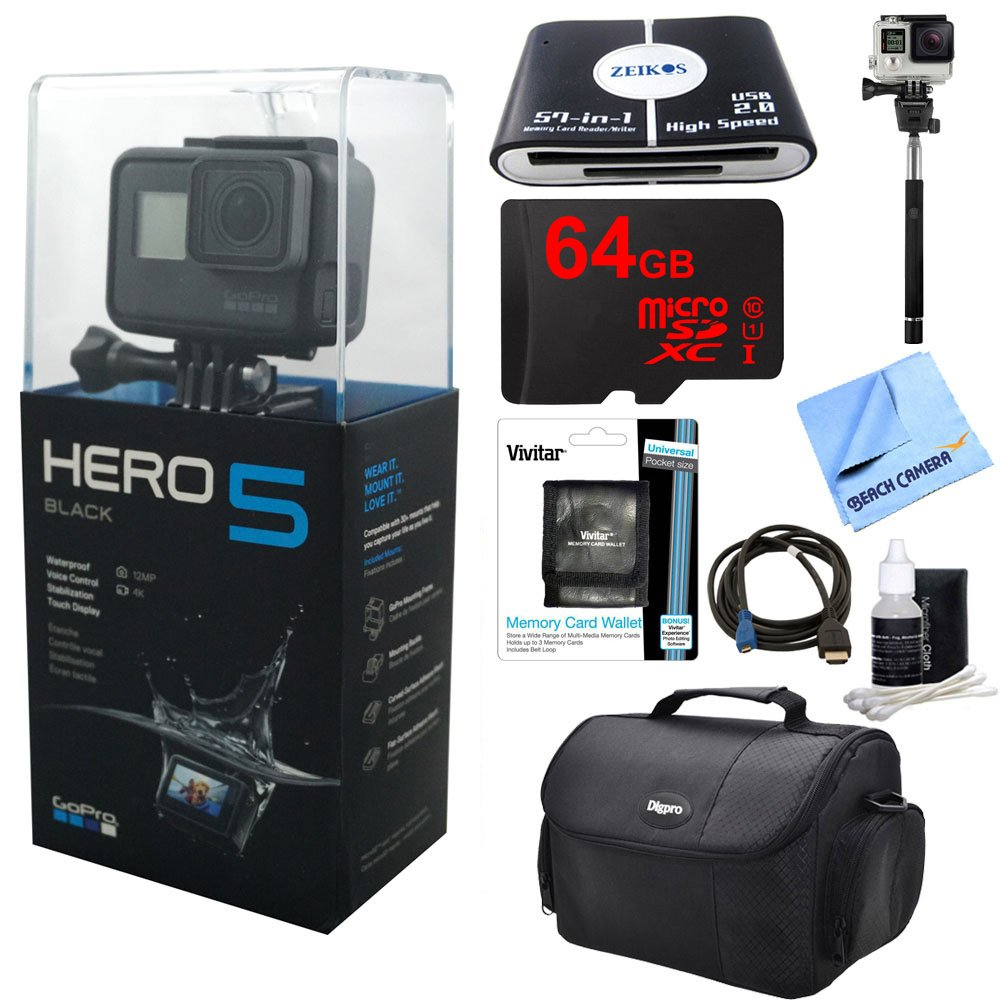 GoPro HERO5 Black Action Camera Ready For Adventure Kit includes Camera, 64GB microSD Memory Card, Card Wallet, Card Reader, Camera Case, Selfie Stick, HDMI Cable, Cleaning Kit and Beach Camera Cloth