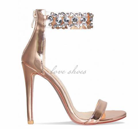 High Rose Sandals Gem Clear Bling Sexy Ladies Gold Heels Summer n0wPOk8X