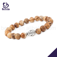High quality wooden beads silver bracelet buddha