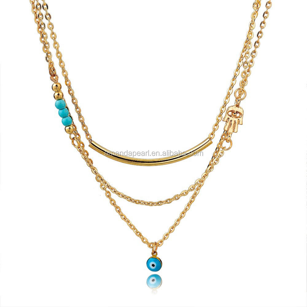 Turquoise Bead Gold chain necklace turkish evil eye necklaces