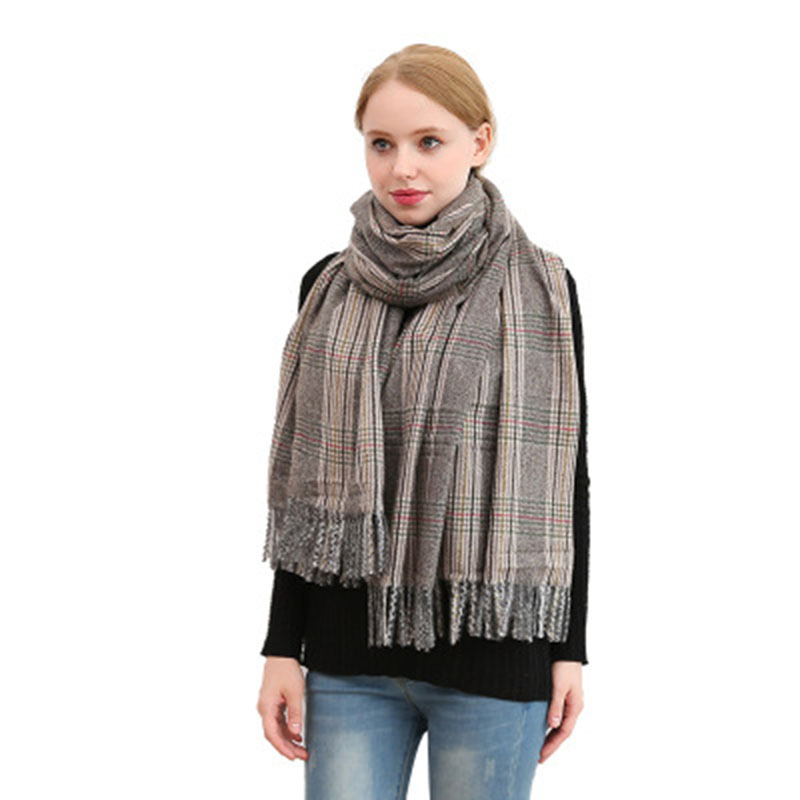 Wholesale Cashmere Women Plaid Pashmina Thick Warm Winter Long Shawl Scarf