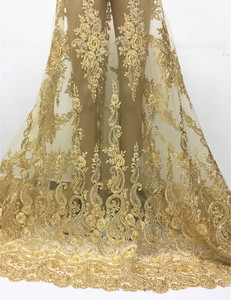 2017 New arrival gold African lace fabric wholesale french Lace for party dress making 5 yards DPN31