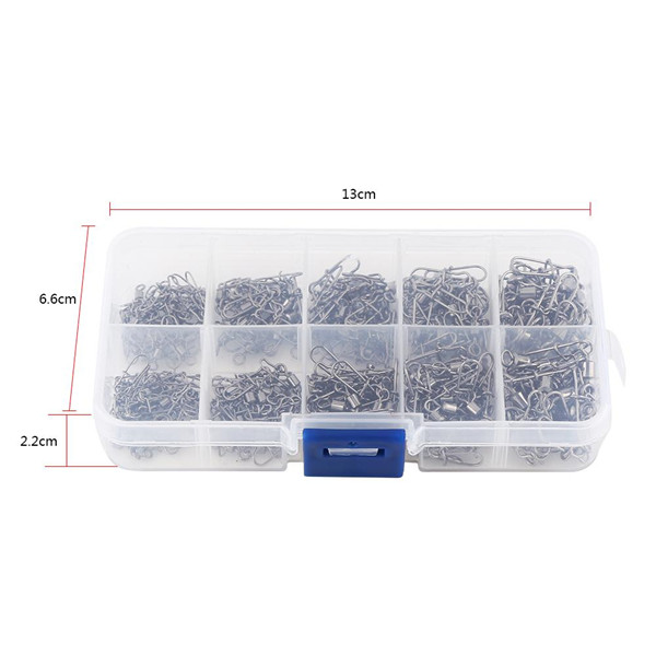 High Quality 210pcs/box High Strength Fishing Rolling Swivels with Snap Connectors Solid Fishing Tackle Fishing Snap Swivel