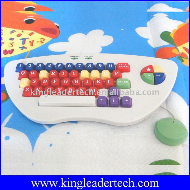 Kid keyboard and mouse combo with large and color-coded keys