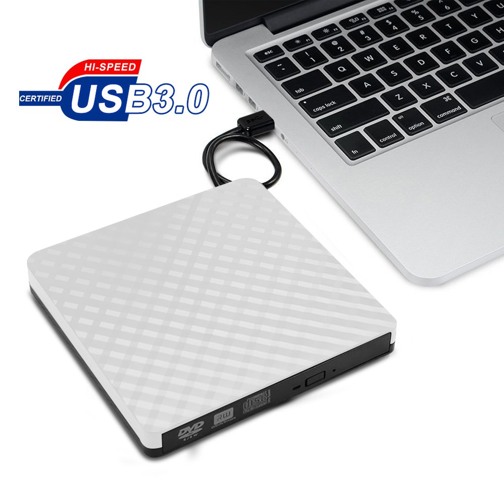 External CD DVD Drive, Vkaiy USB 3.0 Protable CD Drive High Speed Data Transfer DVD CD +/- RW Writer Burner Rewriter DVD/CD-ROM Drives for Desktop Laptop Notebook Windows7/8/10, Mac OSX (White)