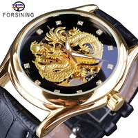 Top Brand Luxury Forsining Watch Diamond Display Dragon Golden Display Luminous Hand Transparent Men Watch Mechanical Watch