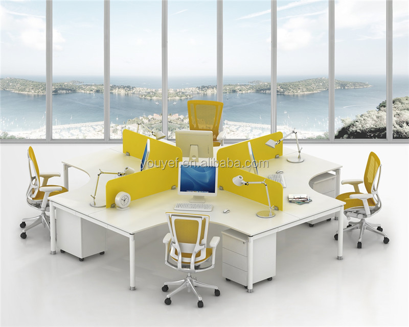 Contemporary Design Long Office Table 2 Drawers For 4 People Wholesale