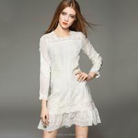 Long sleeve retro dress with lace trim 2016 vintage dress manufacturer