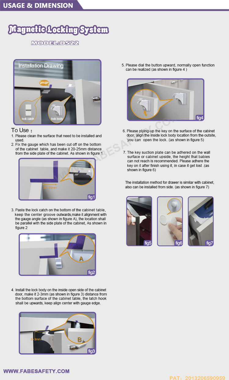 Fabe D522 Oem Top Selling Magnetic Child Baby Safety Cabinet Lock ...