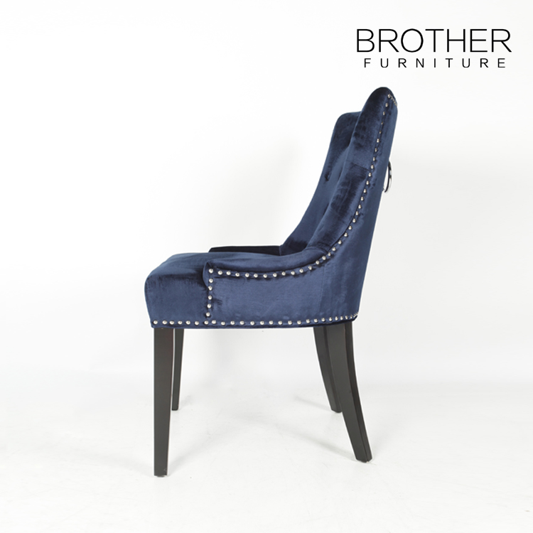New trend product blue beauty velvet chair with ring