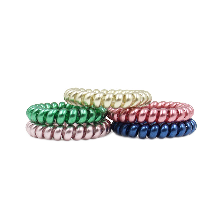 Bright-Colored Plastic Custom Logo Telephone Wire Ponytail Holder Cheap Shine Telephone Wire Hair Band